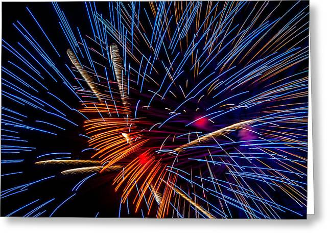 Louisiana Greeting Cards - Fireworks abstract Greeting Card by Andy Crawford