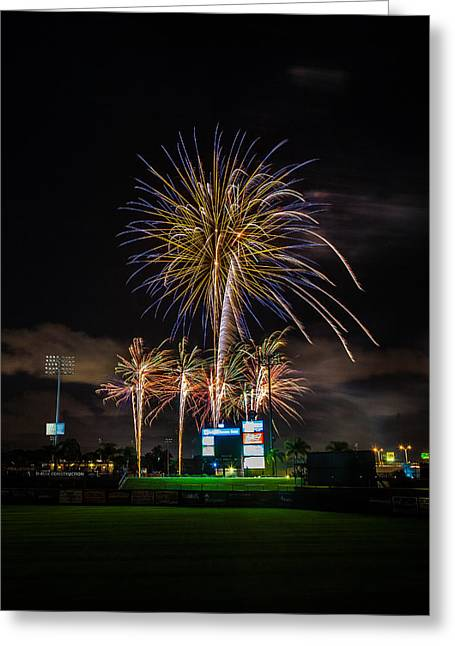 Brighthouse Field Greeting Cards - Fireworks and Baseball Greeting Card by Jeff Donald