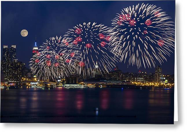 New York Skyline Greeting Cards - Fireworks and Full Moon Over New York City Greeting Card by Susan Candelario