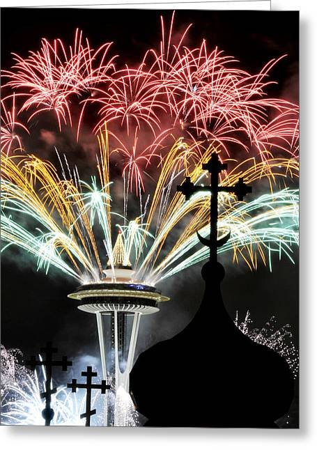 Spiridon Greeting Cards - Fireworks And Needle 1 Greeting Card by Paul Conrad