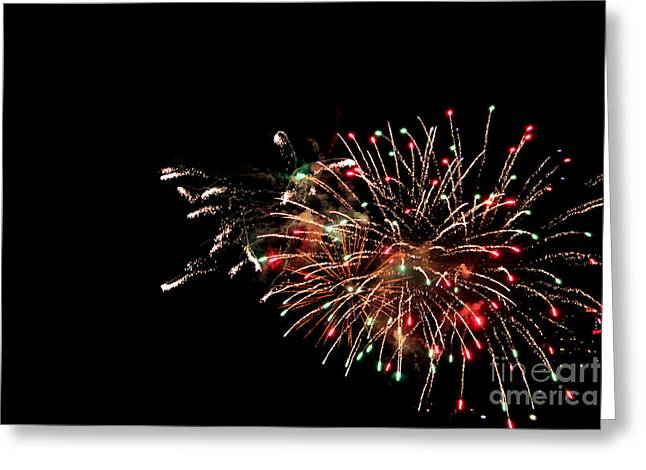 Pyrotechnics Greeting Cards - Fireworks at Niagara Falls Greeting Card by Claudia Mottram