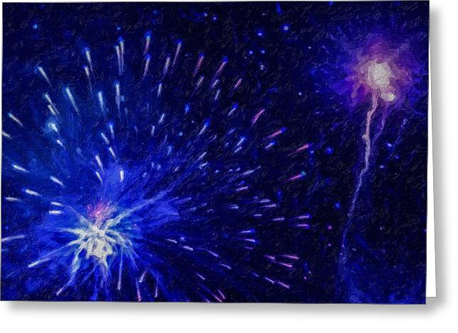 4th July Paintings Greeting Cards - Fireworks at night 1 Greeting Card by Lanjee Chee