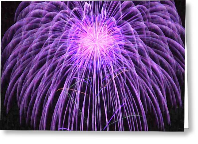 4th July Paintings Greeting Cards - Fireworks at night 2 Greeting Card by Lanjee Chee