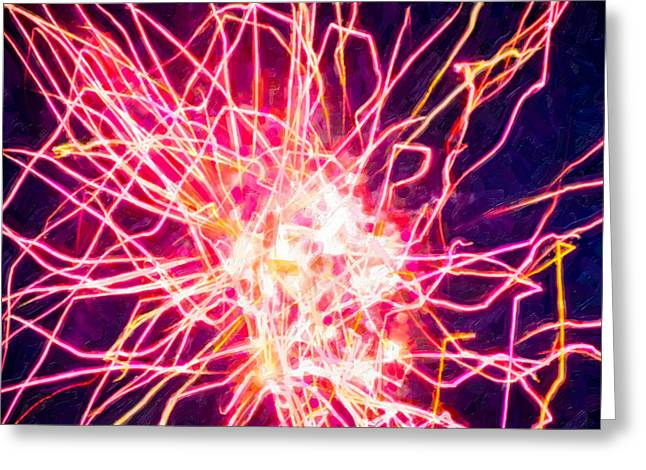 4th July Paintings Greeting Cards - Fireworks At Night 6 Greeting Card by Lanjee Chee