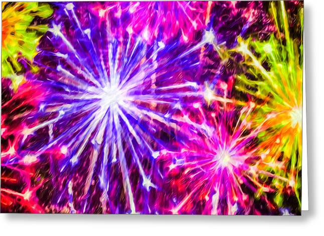 4th July Paintings Greeting Cards - Fireworks At Night 7 Greeting Card by Lanjee Chee
