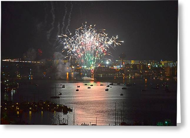 Fireworks at Night for the 4th of July over Fort Walton Beach from 14th Floor Balcony Greeting Card by Jeff at JSJ Photography