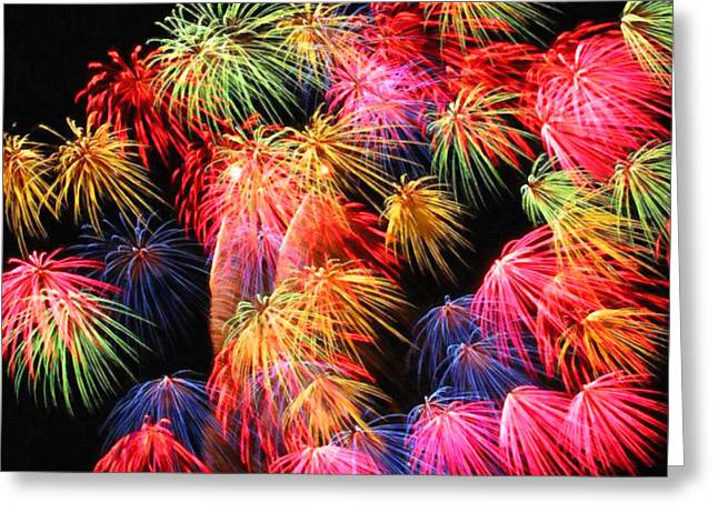 4th July Paintings Greeting Cards - Fireworks at night Greeting Card by Lanjee Chee