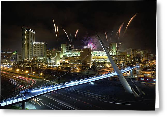 San Diego Padres Stadium Photographs Greeting Cards - Fireworks at Petco Park Greeting Card by Tom Odaniell