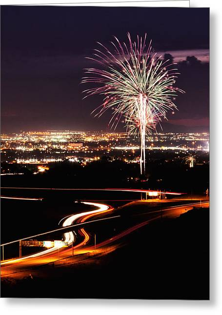 4th July Photographs Greeting Cards - Fireworks at Sugarhouse Park Greeting Card by Kayta Kobayashi