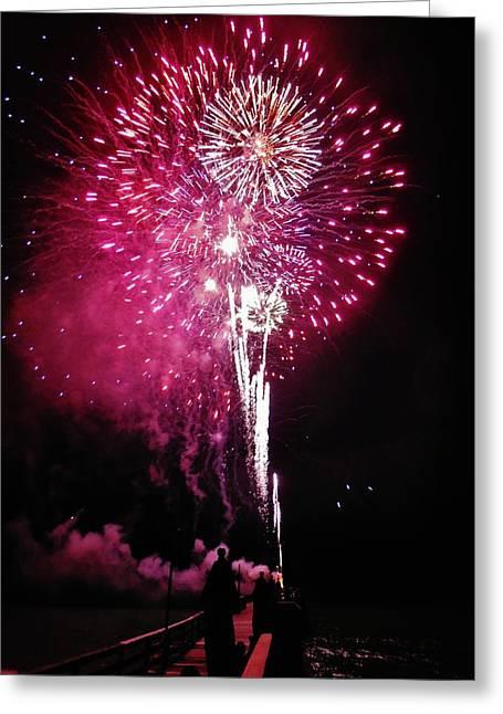 Fireworks. Kites Greeting Cards - Fireworks Avon Pier 2014 Greeting Card by Mark Lemmon