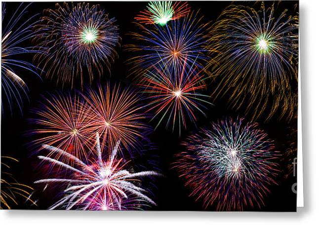 Pyrotechnics Greeting Cards - Fireworks Background Greeting Card by   CursedSenses
