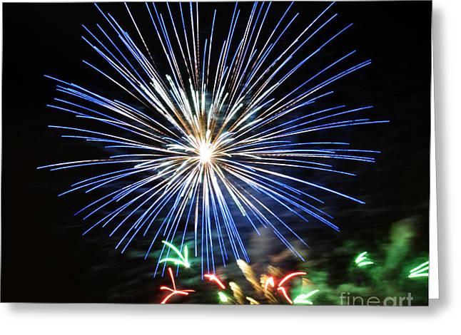 Feuerwerk Greeting Cards - Fireworks Blue-White Greeting Card by Katja Zuske