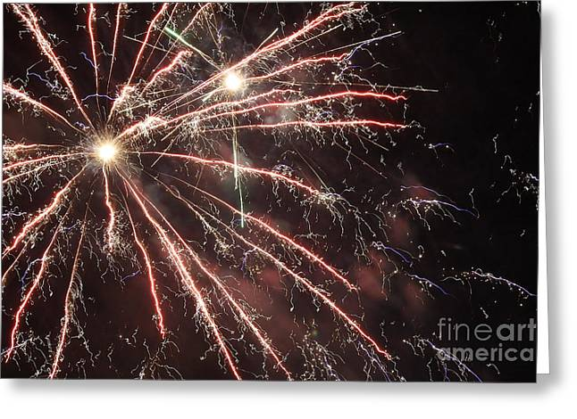 Pyrotechnics Greeting Cards - Fireworks Burst Greeting Card by Terry Weaver