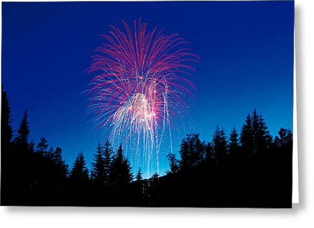 Pyrotechnics Greeting Cards - Fireworks, Canada Day, Banff National Greeting Card by Panoramic Images