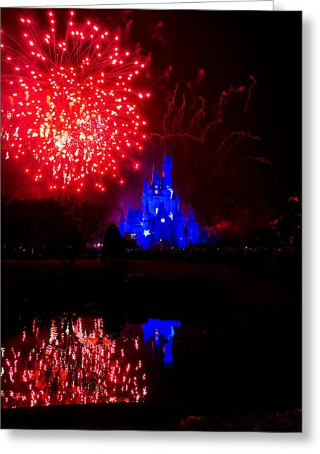Cinderella Photographs Greeting Cards - Fireworks Disney Style Greeting Card by Greg Fortier