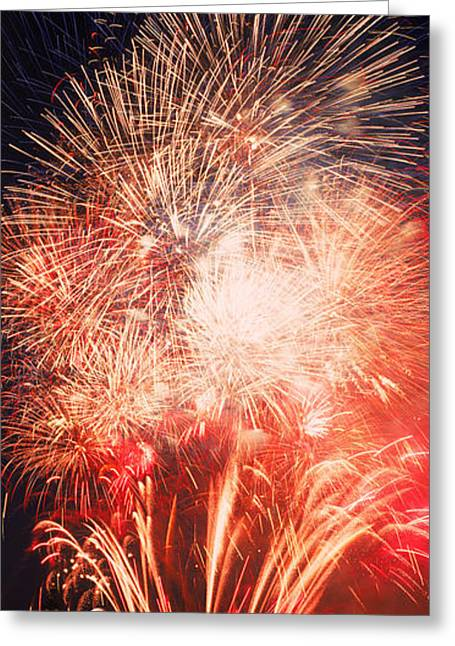 Fireworks Display Greeting Cards - Fireworks Display Against Night Sky Greeting Card by Panoramic Images