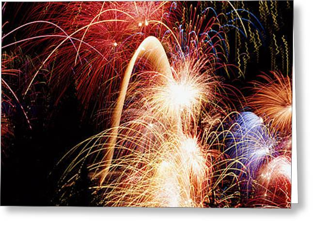 Spectacular Greeting Cards - Fireworks Display, Banff, Alberta Greeting Card by Panoramic Images