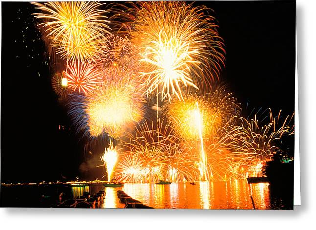 Fireworks Display In Night Greeting Card by Panoramic Images