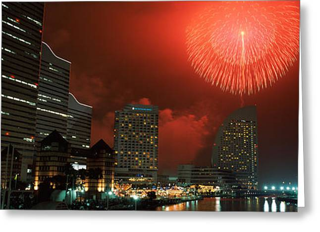 Fireworks Display Greeting Cards - Fireworks Display In The Sky, Minato Greeting Card by Panoramic Images