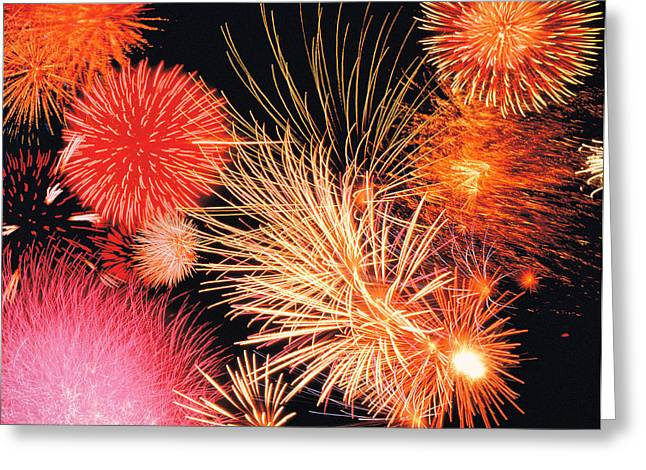 Lightening Greeting Cards - Fireworks Display Greeting Card by Panoramic Images