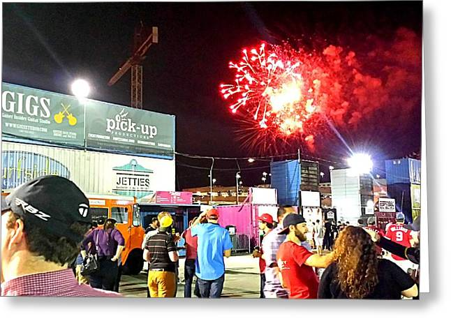 Washington Dc Baseball Greeting Cards - Fireworks Erupt Over the Bullpen Greeting Card by Kenny Glover