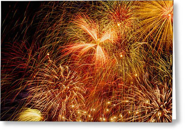 Fireworks Display Greeting Cards - Fireworks Exploding At Night, Luxembourg Greeting Card by Panoramic Images