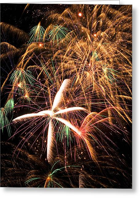 4th July Photographs Greeting Cards - Fireworks exploding everywhere Greeting Card by Garry Gay