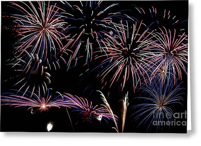 Pyrotechnics Greeting Cards - Fireworks Extravaganza 2 Greeting Card by Steve Purnell