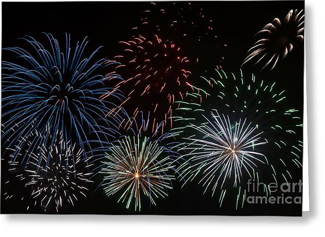 Pyrotechnics Greeting Cards - Fireworks Extravaganza 3 Greeting Card by Steve Purnell