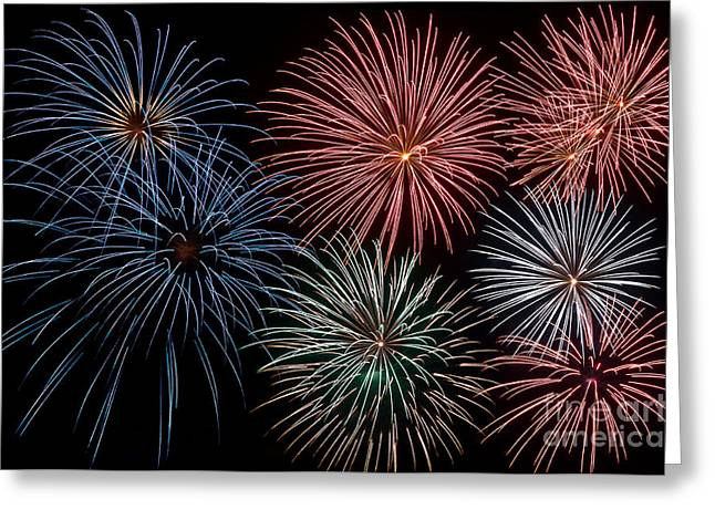 Pyrotechnics Greeting Cards - Fireworks Extravaganza 4 Greeting Card by Steve Purnell
