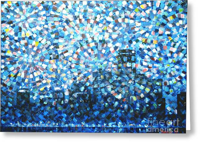 Renaissance Center Paintings Greeting Cards - Fireworks Finale / Detroit Greeting Card by Jim Rehlin