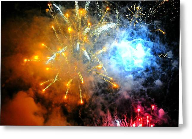 Pyrotechnics Greeting Cards - Fireworks Finale Greeting Card by Diana Angstadt
