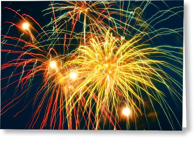 Skyrockets Greeting Cards - Fireworks Finale Greeting Card by Doug Kreuger
