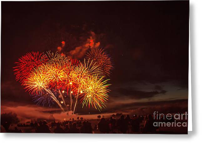 Bale Greeting Cards - Fireworks Finale Greeting Card by Robert Bales