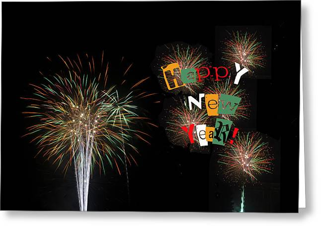 Party Invite Greeting Cards - Fireworks for Happy New Year 2014 Greeting Card by Marianne Campolongo