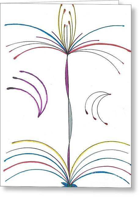 Fireworks Drawings Greeting Cards - Fireworks Fountain Greeting Card by Luke Nelson