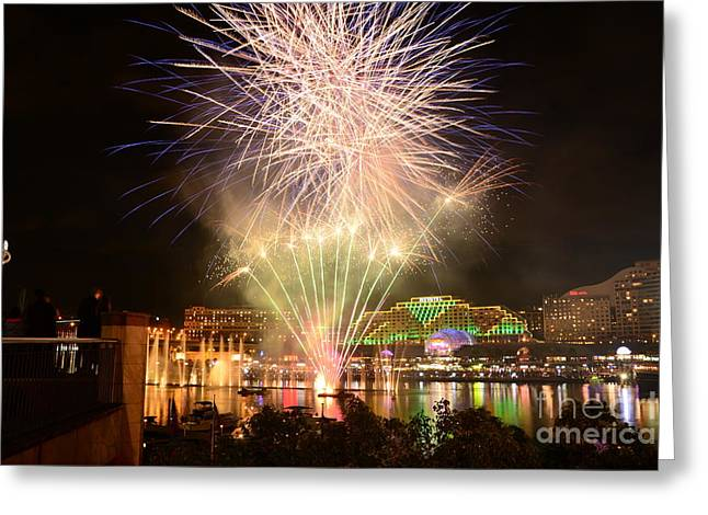 Darling Harbour Greeting Cards - Fireworks Glow at Vivid Aquatique 2014 by Kaye Menner Greeting Card by Kaye Menner
