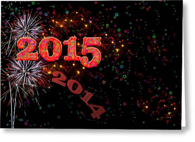 Ano Nuevo Greeting Cards - Fireworks Happy New Year 2015 Greeting Card by Marianne Campolongo