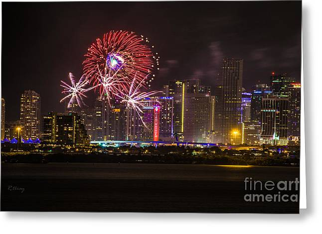 Miami Heat Greeting Cards - Fireworks II Greeting Card by Rene Triay Photography