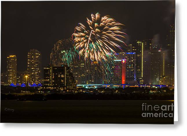 Miami Heat Greeting Cards - Fireworks III Greeting Card by Rene Triay Photography