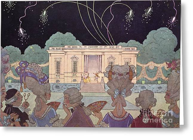Sociology Greeting Cards - Fireworks In France, Historical Artwork Greeting Card by British Library