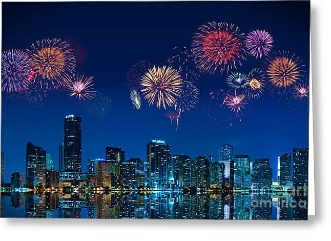 Brickell Greeting Cards - Fireworks in Miami Greeting Card by Carsten Reisinger