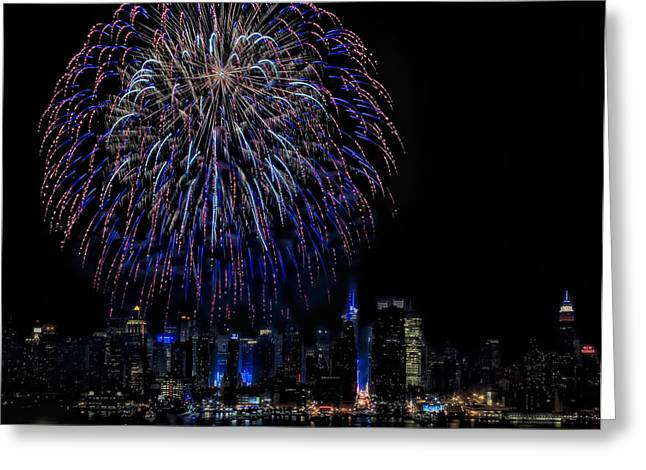 4th July Greeting Cards - Fireworks In New York City Greeting Card by Susan Candelario