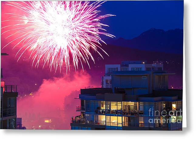Independance Day Greeting Cards - Fireworks in the City Greeting Card by Nancy Harrison