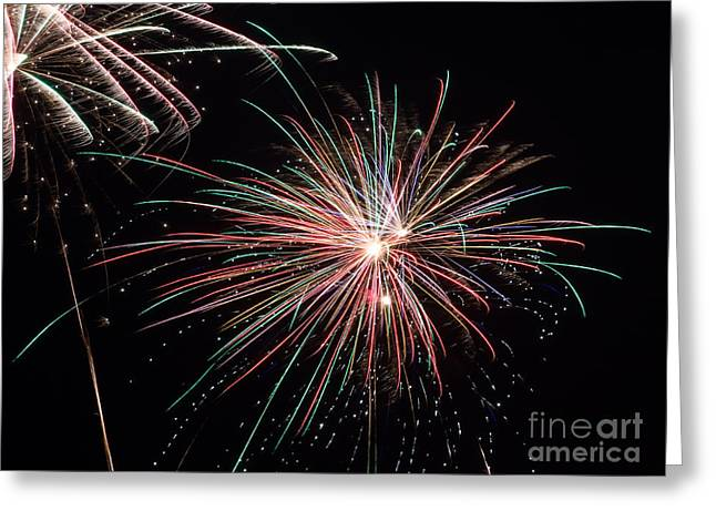 Beach At Night Greeting Cards - Fireworks in the Night Sky Greeting Card by Dawna  Moore Photography