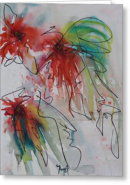 4th July Paintings Greeting Cards - Fireworks Greeting Card by Nancy Gebhardt