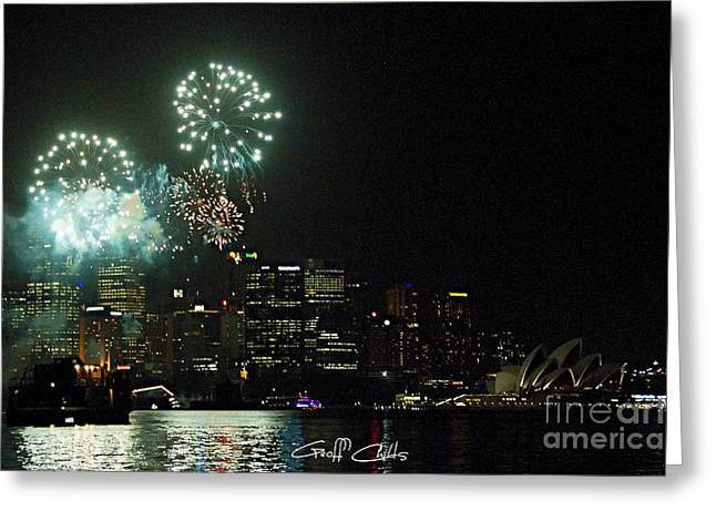 Pyrotechnics Greeting Cards - Fireworks - Navy Centenary. Greeting Card by Geoff Childs