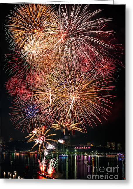 Pyrotechnics Greeting Cards - Fireworks new year 2014 - 2015 celebration  Greeting Card by Anek Suwannaphoom