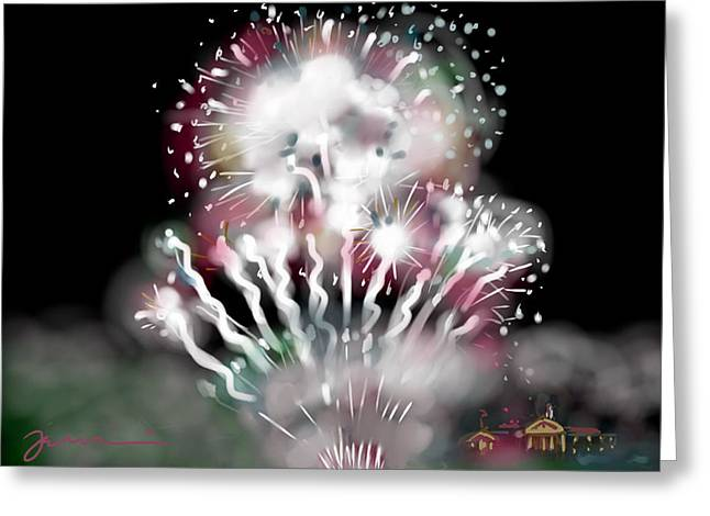 Memorial Day Drawings Greeting Cards - Fireworks On High School Hill Greeting Card by Jean Pacheco Ravinski