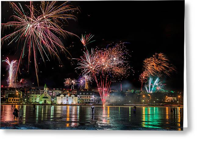 Winter Night Greeting Cards - Fireworks On New Years Eve, Reykjavik Greeting Card by Panoramic Images